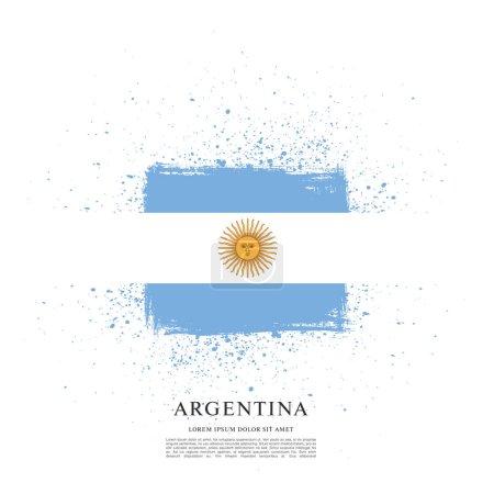 Illustration for Flag of Argentina, brush stroke background - Royalty Free Image