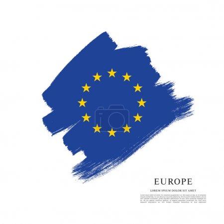 Illustration pour Drapeau de l'Europe, fond coup de pinceau - image libre de droit