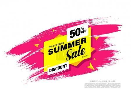 Illustration pour Bannière de modèle de vente d'été en couleurs vives - image libre de droit