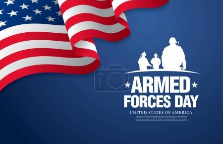 Illustration for Armed forces day banner, vector illusration - Royalty Free Image