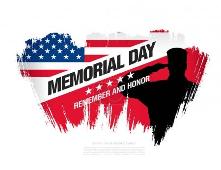 Illustration for Memorial day banner. Remember and honor. Vector illustration - Royalty Free Image