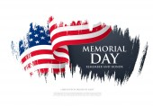 American Memorial day banner with flag vector illustration