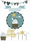 Celebratory cake with set of decoration toppers candles and garlands with flags Vector hand drawn illustration scandinavian style in mint colors with gold glittering elements