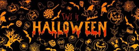 Photo pour Halloween couleurs drôles gribouillis illustrations grande bannière - image libre de droit