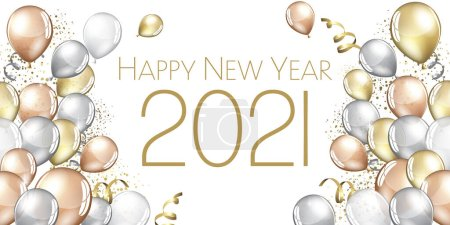Photo for Happy New year 2021 large greeting card illustration - Royalty Free Image