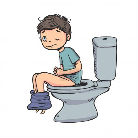 Hand drawn the boy sitting on the toilet. Shit expression awkward. Vector illustration on white background.