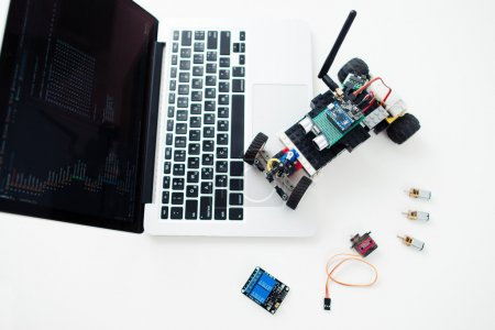 Electronic components on geek workplace, diy rc car