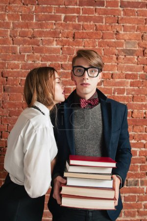 Shocked after woman kiss student, free space