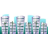 Kreslené vektorové stavební objekty s odděleným vrstvami pro herní grafika a animace