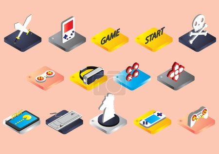 illustration of info graphic game icons set concept