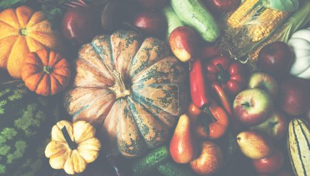 Photo for Colorful fruits and vegetables background. Harvest background. - Royalty Free Image