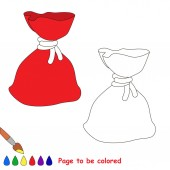 Red Christmas Bagful to be colored the coloring book for preschool kids with easy educational gaming level