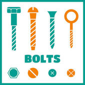 Construction hardware icons Screws bolts nuts and rivets vector