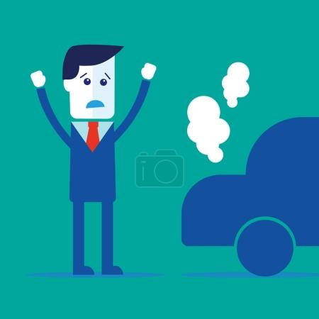Illustration for Businessman, car broke down vector eps 10 - Royalty Free Image