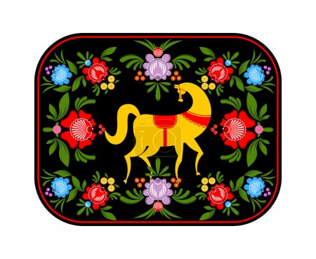 Illustration for Gorodets painting yellow horse and floral elements. Russian national folk craft. Traditional decoration painting in Russia. Flowers and leaves texture. Retro ethnic decor tra - Royalty Free Image