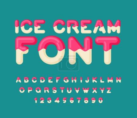 Illustration pour Fonte Ice cream. Alphabet popsicle. Bonbons froids ABC. Typographie alimentaire. Lettres comestibles. dessert letterin - image libre de droit