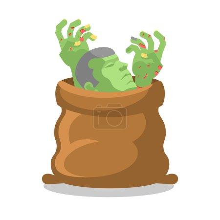Illustration pour Des zombies en sac. Corps démembré en sac. Mains et tête de motte. Emballage pour mort-vivant - image libre de droit