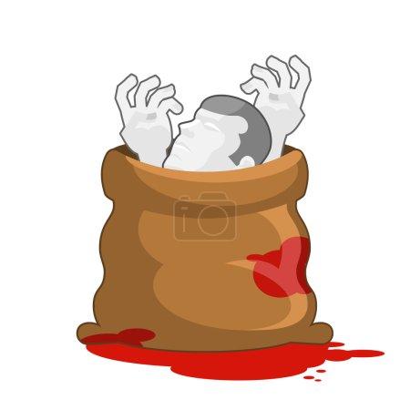 Illustration pour Un cadavre dans un sac rempli de flaques sanglantes. Un cadavre disséqué dans un sac. Les mains et la tête du défunt. Emballage pour marcher parti. Masquer les traces de murde - image libre de droit