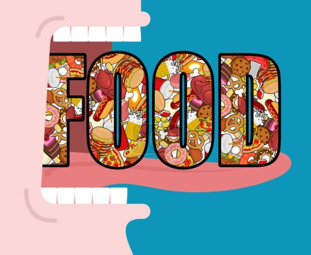 Illustration for Open mouth and food. Absorption of feed. Eat many of meal. Very hungry. Pizza and tacos. French fries and hamburger. Hotdog and cookies. Baked turkey and watermelon. Pork and cake. Donuts and dumpling - Royalty Free Image