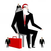 Boss Santa Claus and helper elf Businessman in festive mask Man in business suit with suitcase Christmas in office corporate New Year at work False beard and red ca