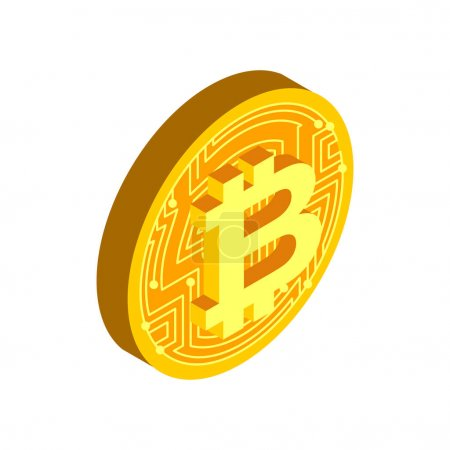 Bitcoin coin isolated. Crypto currency symbol. Virtual money sig