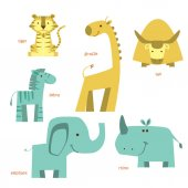 Animals set Different African animals Vector illustration