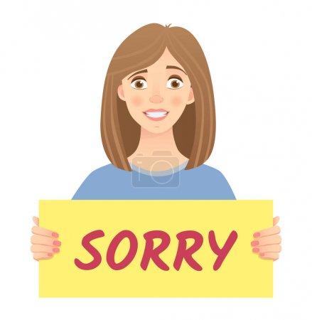 Illustration pour Femme tenant le signe désolé. Je suis désolé message sur fond blanc. Illustration vectorielle . - image libre de droit