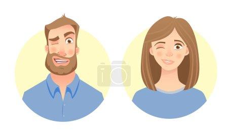 Illustration pour Homme et femme. Visage masculin et féminin. Caractères vectoriels plats - image libre de droit