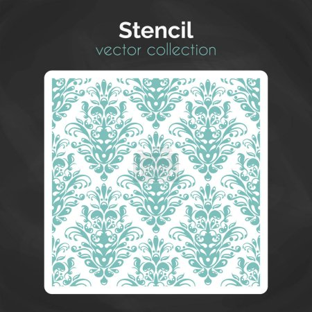 Illustration for Stencil. Laser cut template. Template pattern for decorative panel. Floral damask ornament background for design - Royalty Free Image
