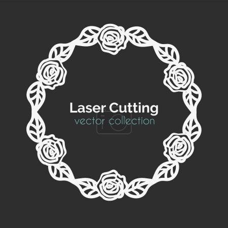 Illustration for Laser Cutting Template. Round Card with Roses. Die Cut Mangala. Cutout Illustration With Ornamental Lace Decoration For Wedding Invitation Cards. Vector Design. - Royalty Free Image