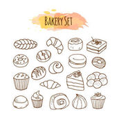 Bakery elements Pastry illustration Hand drawn vector set Baking clip art