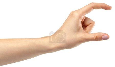 Photo pour Geste de la main féminine sur fond blanc - image libre de droit