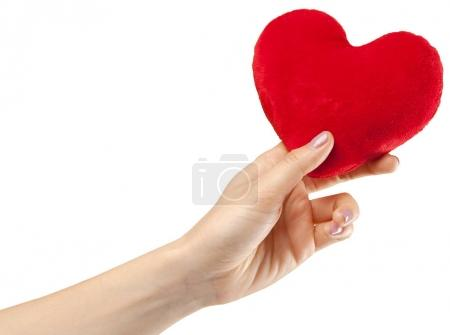 red heart in female hand