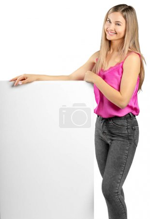 woman showing blank signboard, isolated on white background