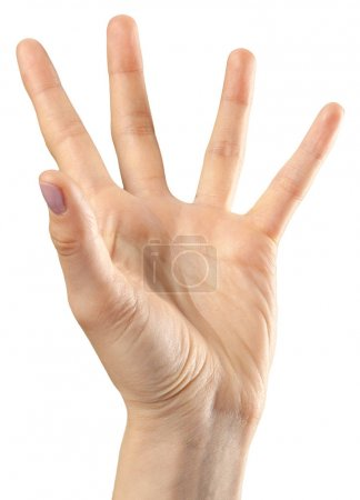 Photo for Female hand gesture on white background - Royalty Free Image