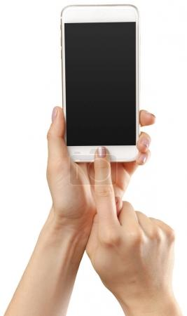 hands holding smartphone mobile isolated on white background