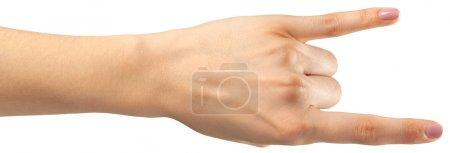 Photo pour Geste de la main de femme sur fond blanc - image libre de droit