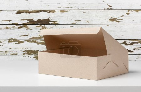 Parcel box on wooden table