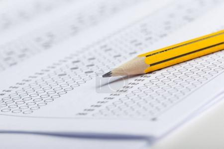 Photo for Close view of test score sheet with answers - Royalty Free Image
