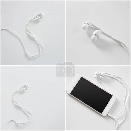 Modern portable audio earphones isolated