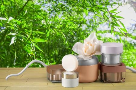cosmetic products on table close up