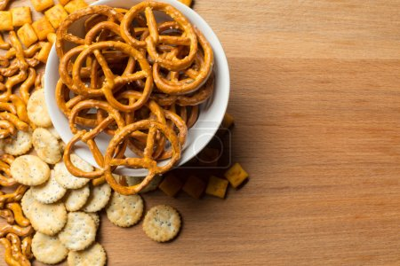 Salty snacks. Pretzels, chips, crackers.