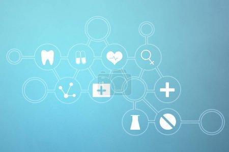 medical icons on blue background