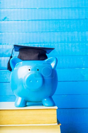 College graduate student diploma and piggy bank