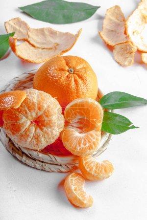 fresh mandarines on wooden table