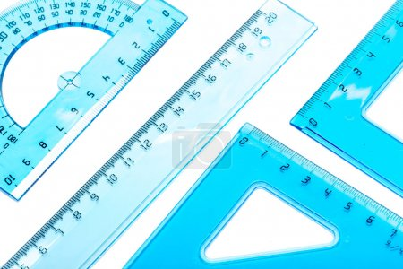 Plastic transparent Rulers with white background
