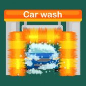 Car wash services auto cleaning with water and soap car interior