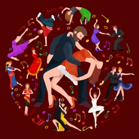 Group of dancing people, yong happy man and woman dance together  in a couple, girl sport dancer