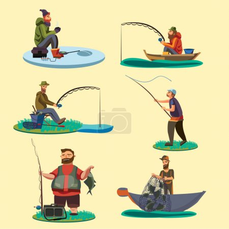 Illustration for Fisherman catches fish sitting on boat and off shore,fisher threw fishing rod into water, happy fishman holds catch and spin, man pulls net out of the water, fishing on ice icon vector illustration. - Royalty Free Image