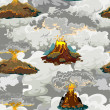 A set of volcanoes of varying degrees of eruption,...